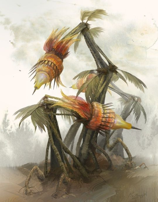 """""""Spitting Plant"""" by Kirsten Zirngibl Done for the Lucadian Chronicles card game, property of Dark Roast Entertainment. I was going for a """"dated science textbook"""" look. Like something Ernst Haekel would do. I also was going for a """"mangy bird"""" look. It was a fun illustration."""
