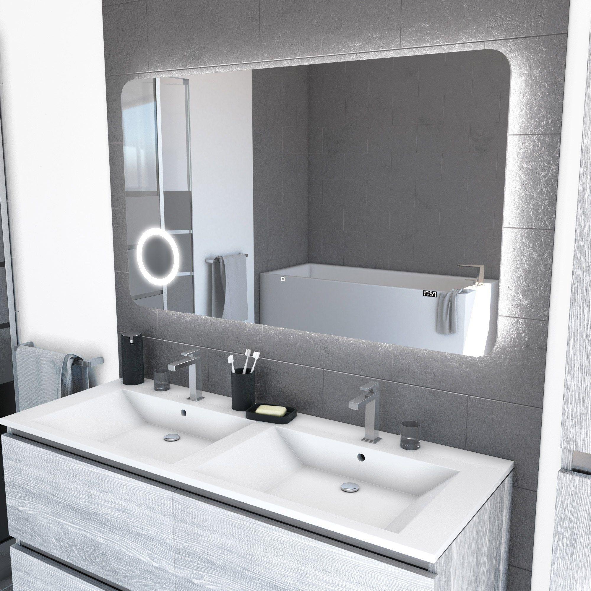 Miroir Salle De Bain 120 Cm miroir avec éclairage intégré, l.120 x h.70 cm silver shadow