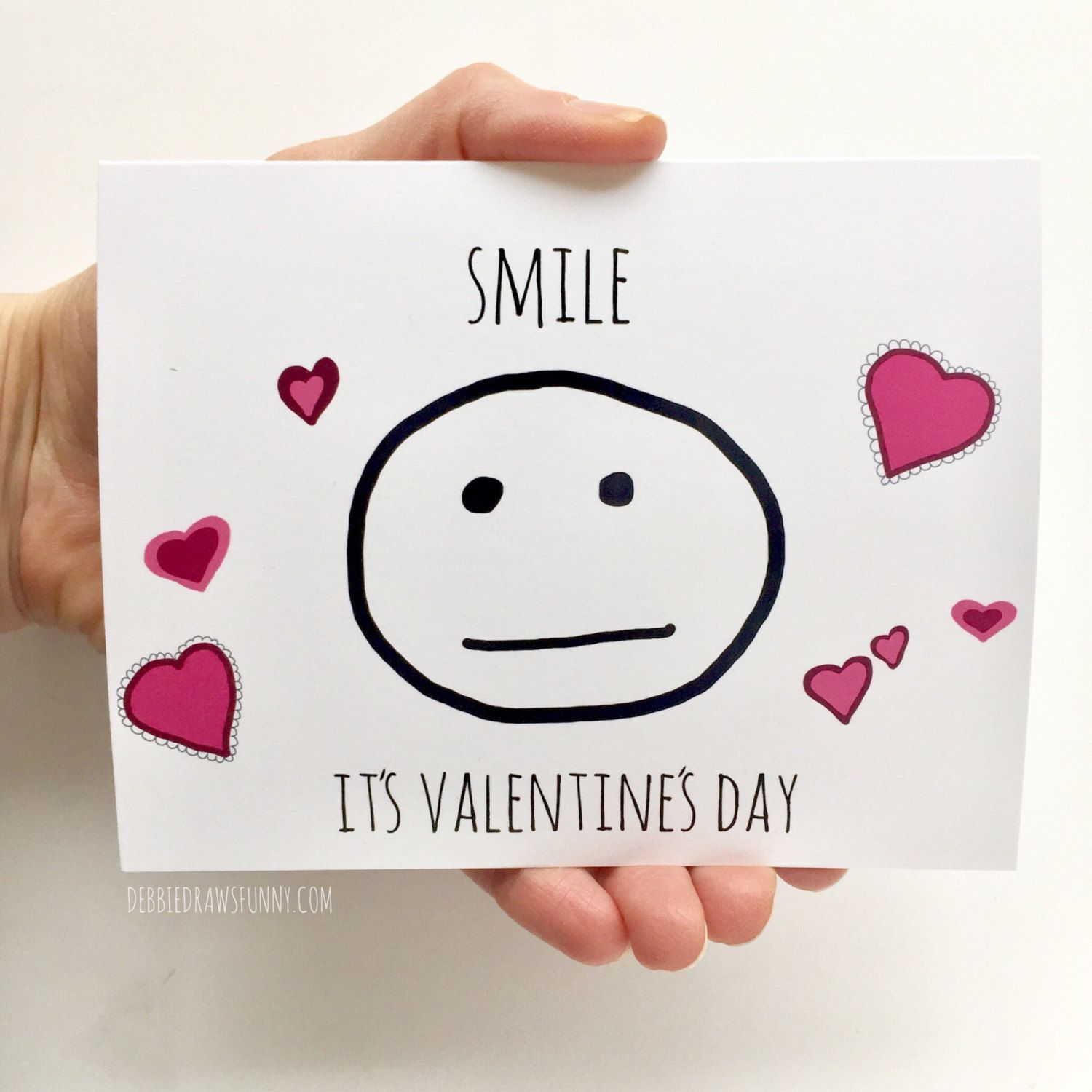 smile its valentines day funny card valentines valentines funny cards friend valentine card - Etsy Valentines Cards