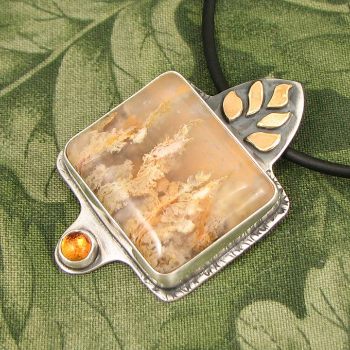 """Graveyard Point Plume Agate Pendant - """"Nature's Fire"""" Sterling with Citrine and Brass Elements - OOAK by marybird on Etsy"""