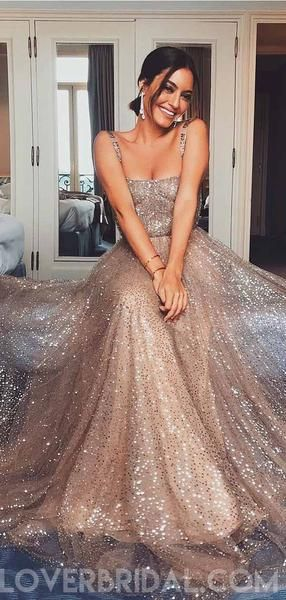 Sparkly Gold Sequin Suqare A-line Cheap Evening Prom Dresses, Cheap Custom Sweet 16 Dresses, 18476 #modestprom