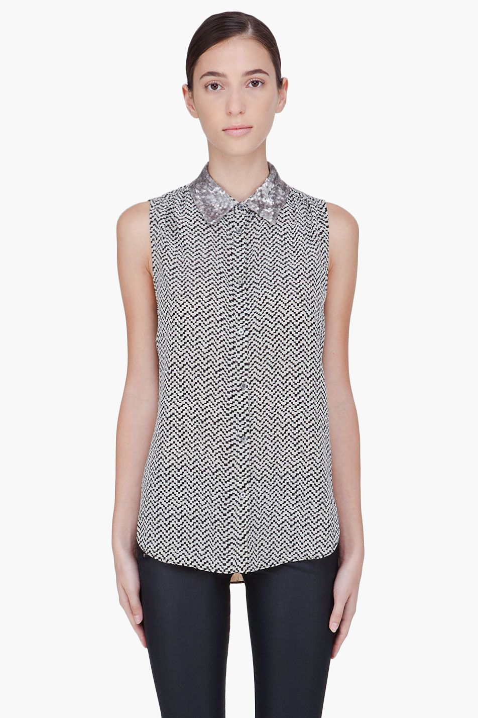 ELIZABETH AND JAMES | Sleeveless geometric front and floral back silk blouse | front