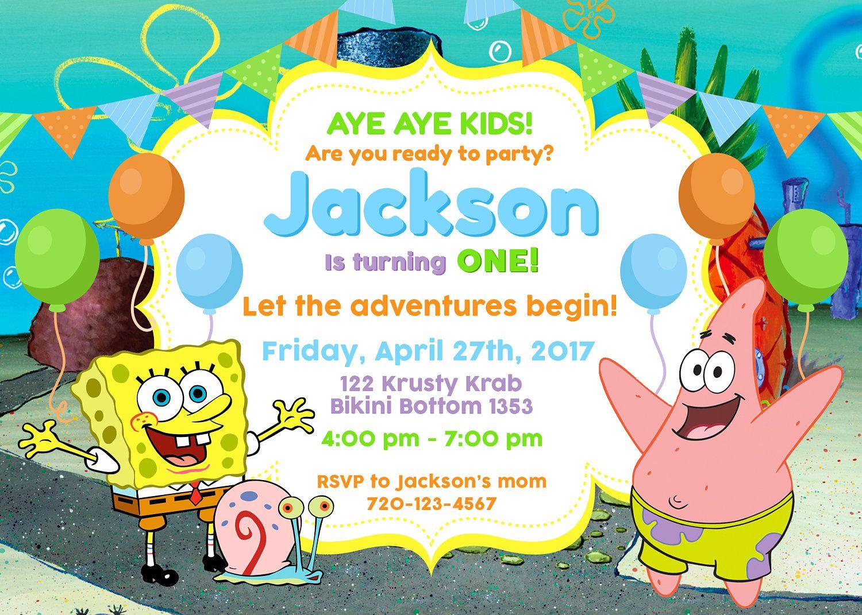 Spongebob Squarepants Party Invitation, Spongebob Squarepants Party ...