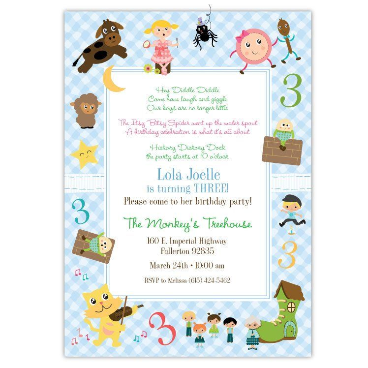 Nursery Rhymes Birthday Invitations