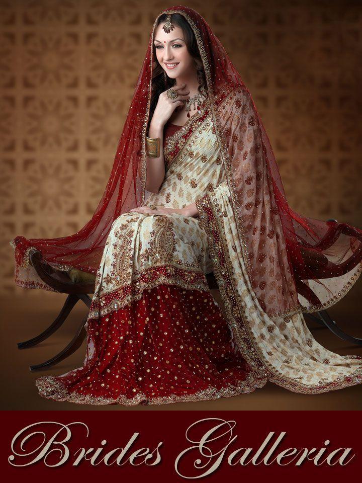 Red & Off White Half Net & Half Chanderi Saree With ...