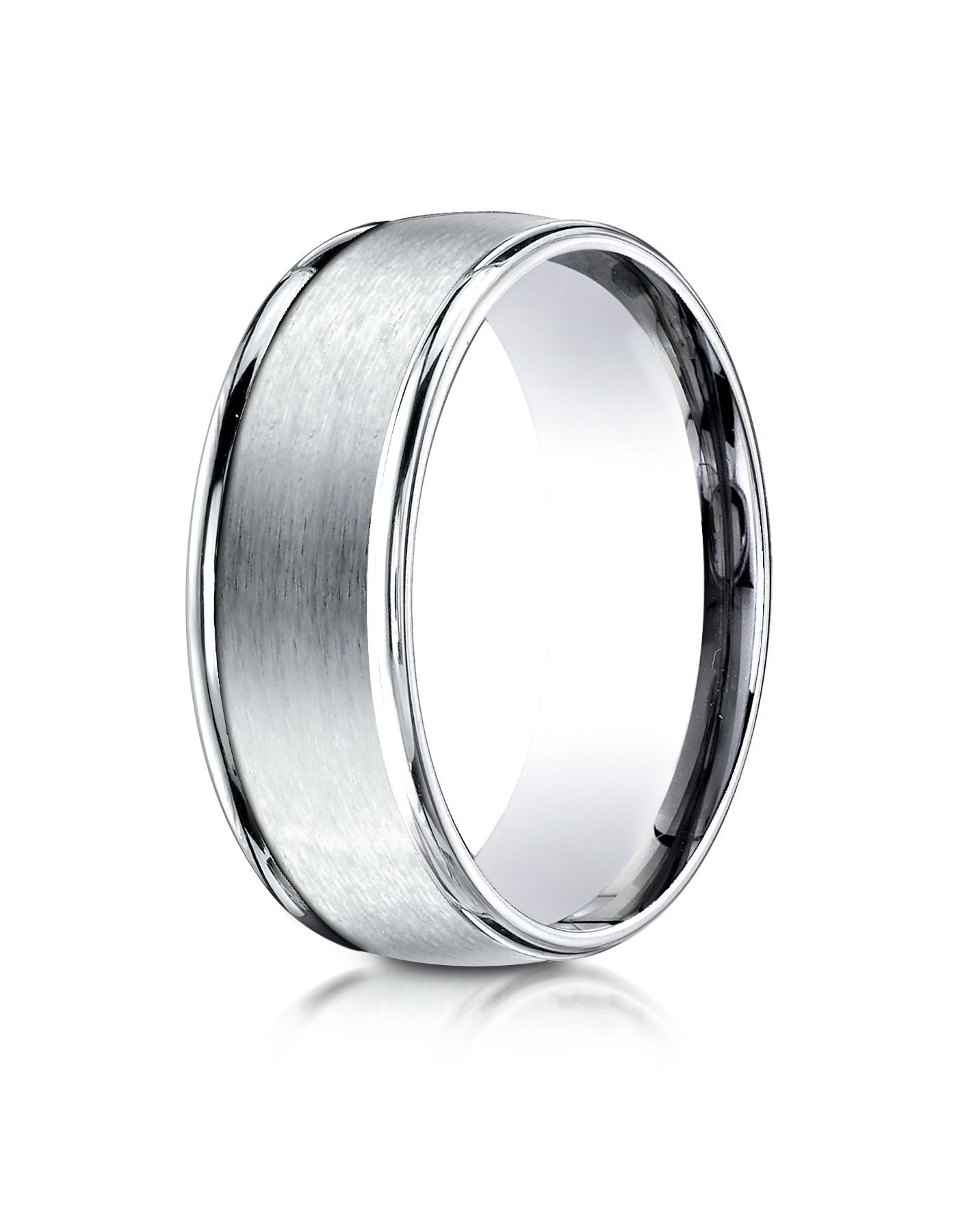 14k White Gold 8mm Comfort-Fit Satin Finish High Polished Round Edge Carved Design Band