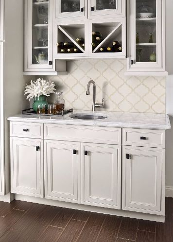 Antique White Arabesque Tile From Msi S Highland Park Collection Features The Elegant Shape Of A Tradition Beautiful Kitchens Gorgeous Kitchens Kitchen Remodel