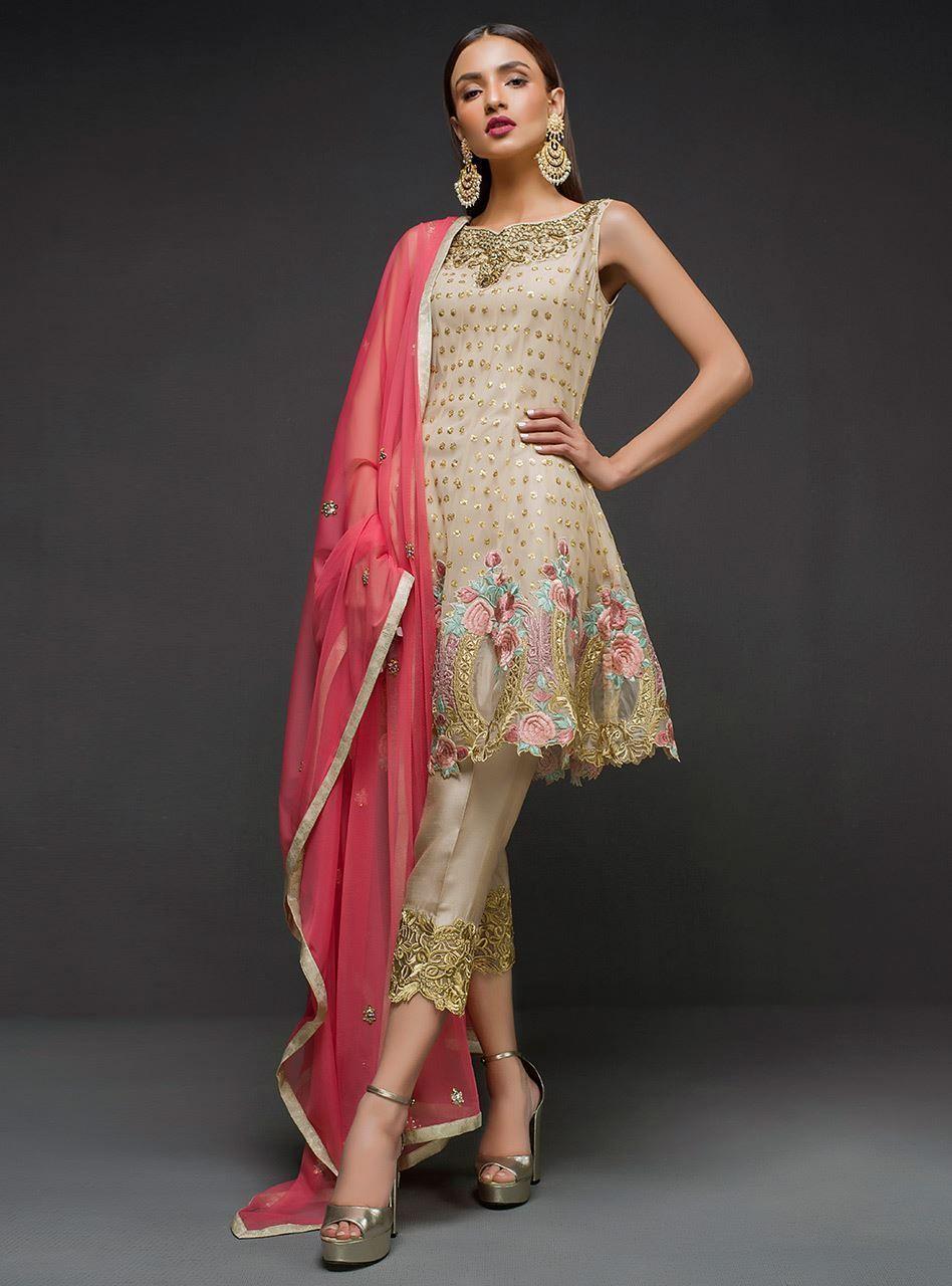 Ivory peplum Kurti neck designs, Pakistani dress design