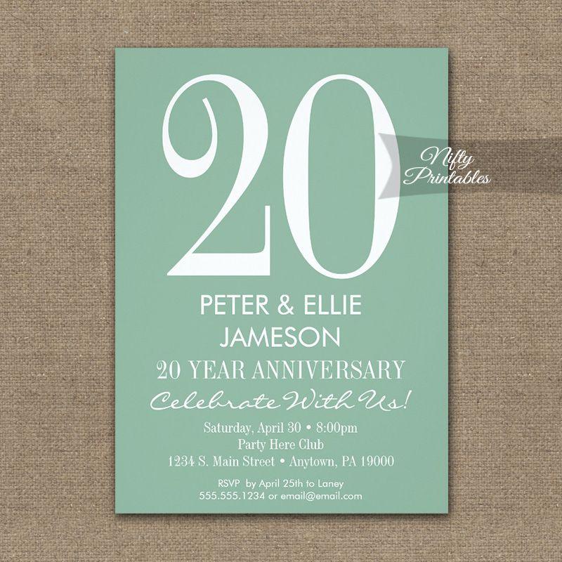 Anniversary Invitation Mint Green u0026 White Modern