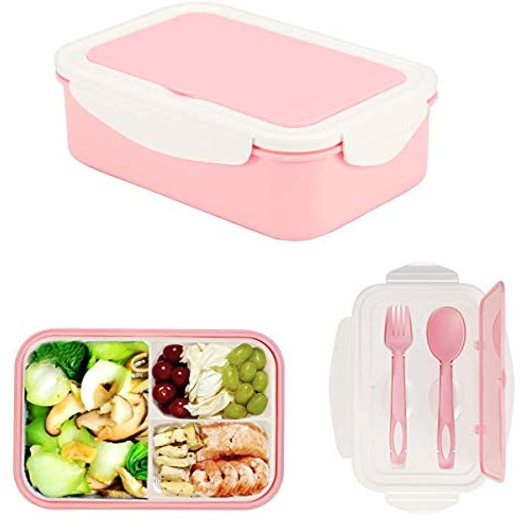 LAKIND Brotdose Lunch-Boxen Kinder Vesperdose Mikrowelle Heizung Bento Box Lunchbox mit 3 F/ächern und Besteck