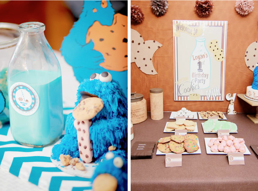 cookie monster cookies milk birthday party mira mina tamayo para cuando alonso
