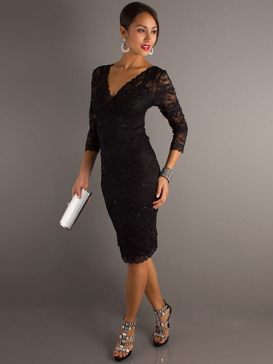 Black dress guest wedding - Black Wedding Dresses Black Lace V Neckline Three Quarter Sleeves And Sequined Trim