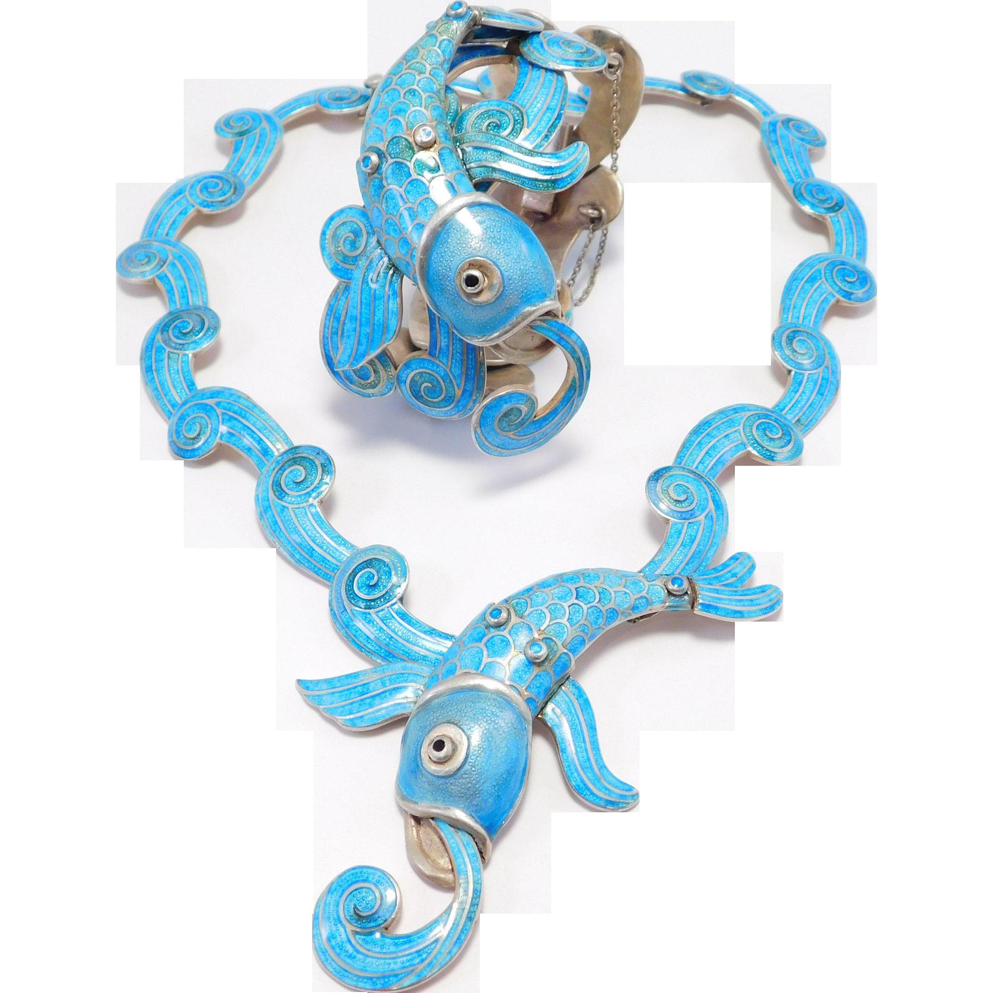 Rare Margot De Taxco Enamel Dolphin Fish Necklace & Bracelet Set