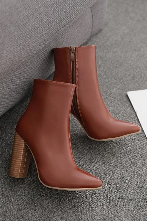 Point High Heels Ankle Boots