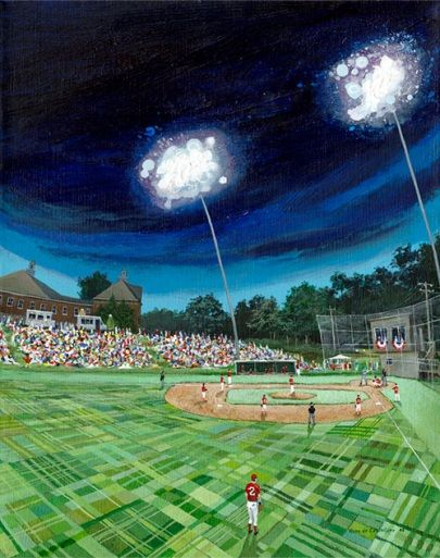 Eldridge Park In Orleans Where Some Of The Cape Cod Baseball League Games Are Played This Hans Decastellane Painting Is Avail Baseball Painting Eldridge Park