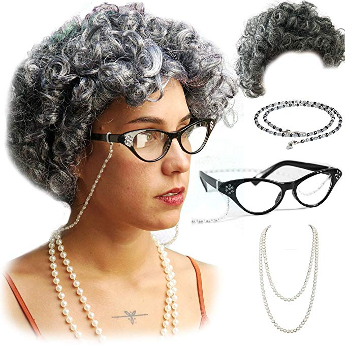 Amazon Com Vibe Old Lady Wig Cosplay Set Gray Hair Granny Wig With Pearl Necklace Glasses Glass Chain Accessor Womens Wigs Granny Wig Baby Old Lady Costume