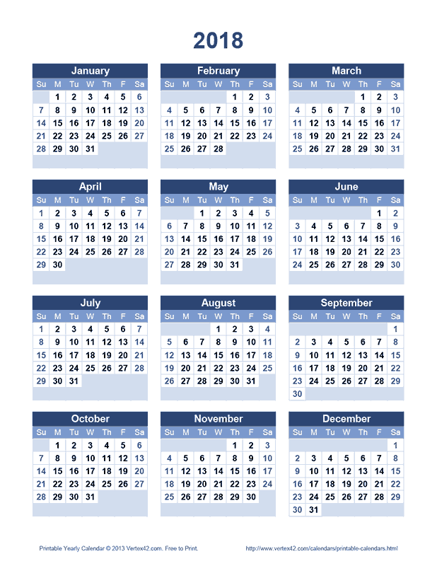 Calendar 2020 And 2016 Printable Download a free Printable 2018 Yearly Calendar from Vertex42.