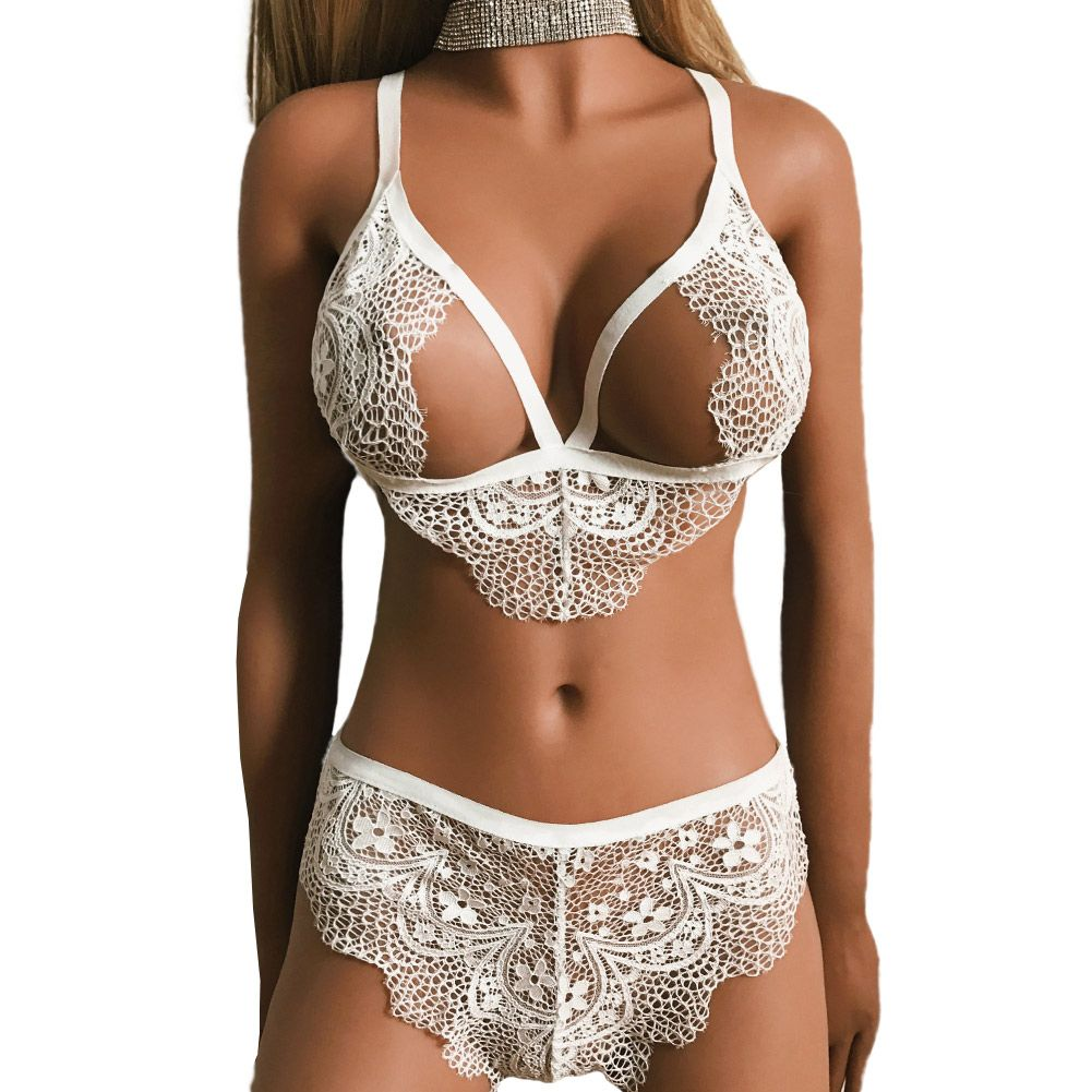893e5d6eabf 2017 Brand Underwear Women Sexy Ultra thin 3 4 Cup Transparent Lace Bra Set  Soft Young Girl Sheer Bra And Brief Set Intimates-in Bra   Brief Sets from  ...