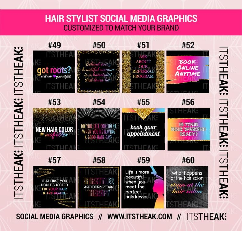 Social Media Graphics Hair Stylists Customized With
