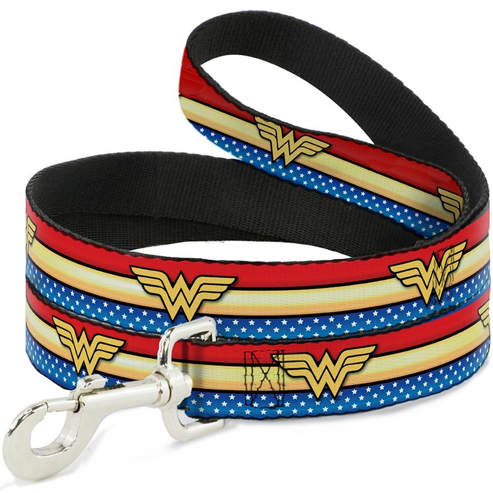 BuckleDown Wonder Woman Logo Stripe Pet Leash Dog leash