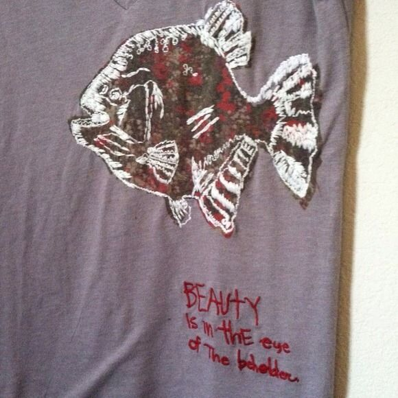 "New Embroidered v neck tee New. Mauve v neck fish embroidered shirt with ""beauty is in the eye of the beholder"" Urban Outfitters Tops"