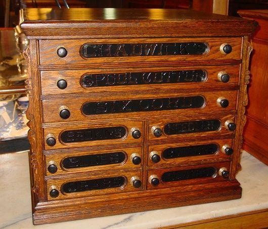 9 Drawer Oak Chadwick S Spool Thread Cabinet Vintage