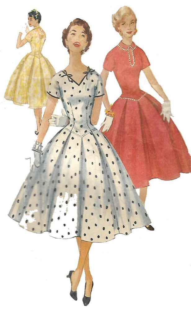 Vintage 1950\'s Sewing Pattern Rockabilly Long Line Bodice Dress Bust ...