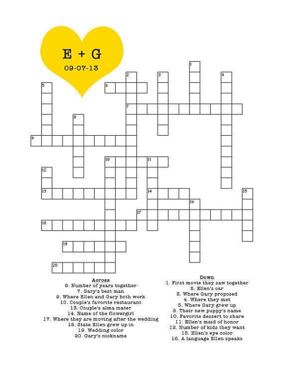 Custom Crossword Puzzle For #Wedding, Bridal Shower, Baby Shower