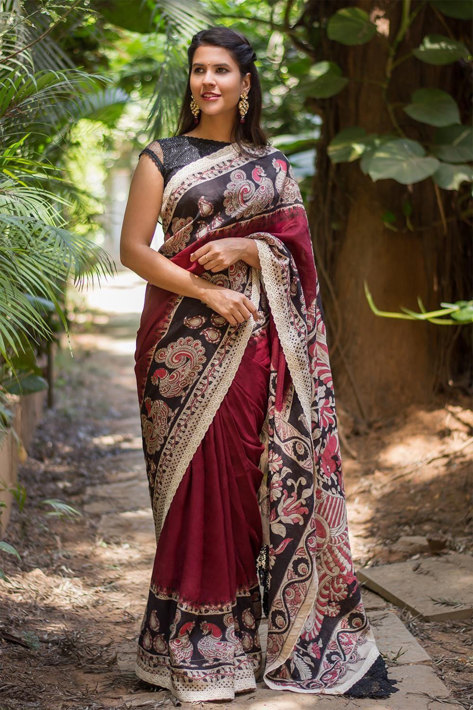 Maroon silk saree maroon soft cotton silk saree with printed kalamkari border and