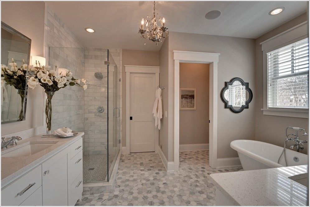 Bathroom traditional minneapolis baseboard gray counter Master bathroom tile floor