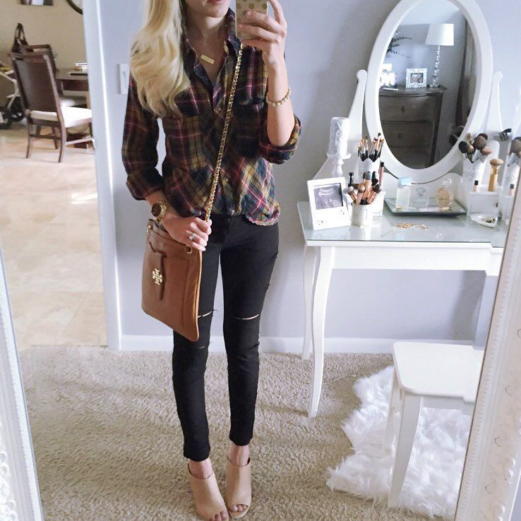 """Jade (A Spoonful of Style) on Instagram: """"Tried on some of my purchases from the #nsale today while Andi was napping! Everything is on major sale! My jeans are already sold out but I linked others that are on sale and the 2 pairs of leggings that I bought! This shirt is my favorite! Details are linked here  @liketoknow.it www.liketk.it/1zScs #liketkit or on my blog in my sale post! #playingdressup #nordstrom #anniversarysale #plaid #toryburch #myhairisamess #choppingitoff"""""""