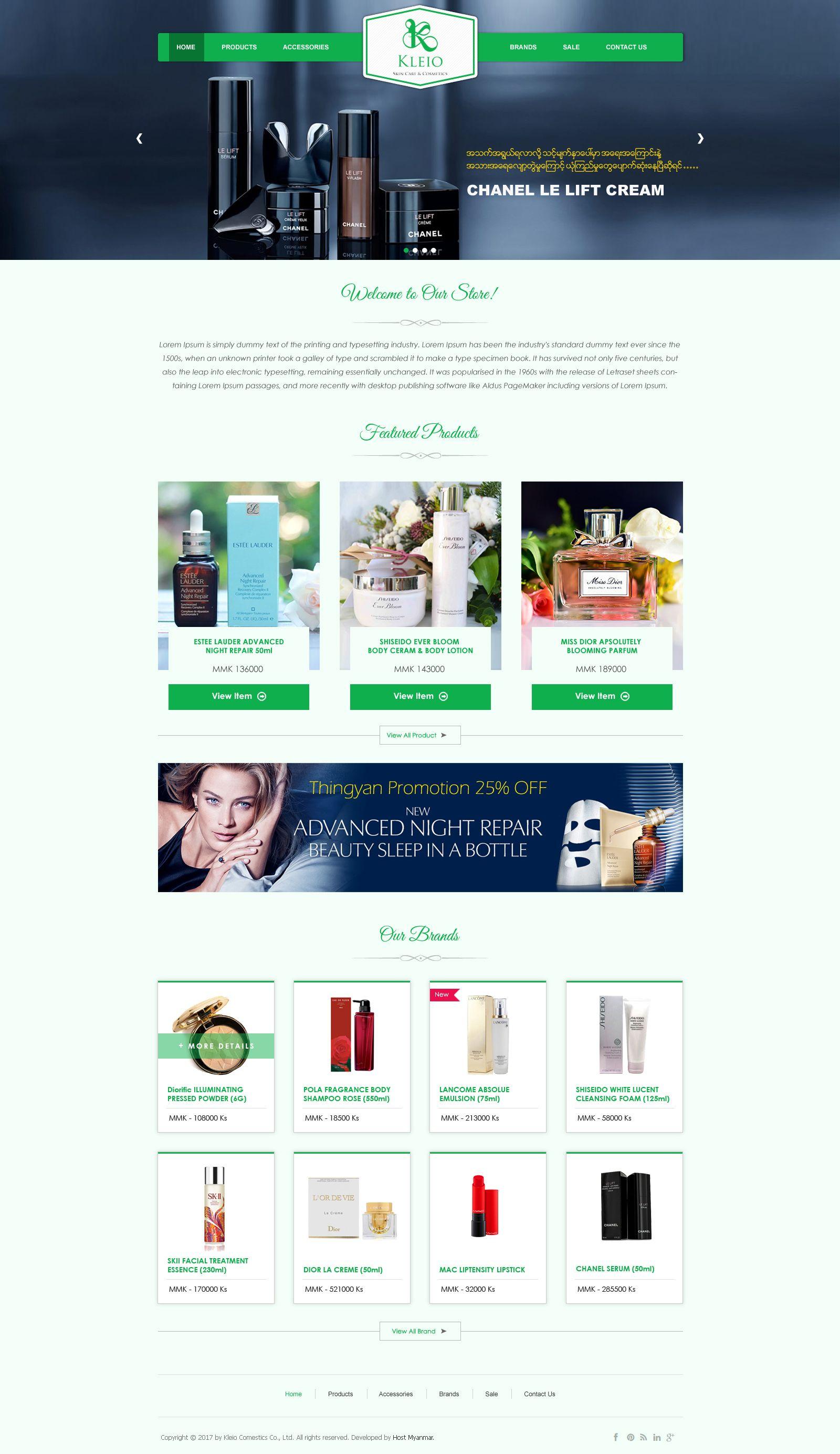 Kleio Cosmetic Myanmar | Web Design | Web design, Design, Cosmetics