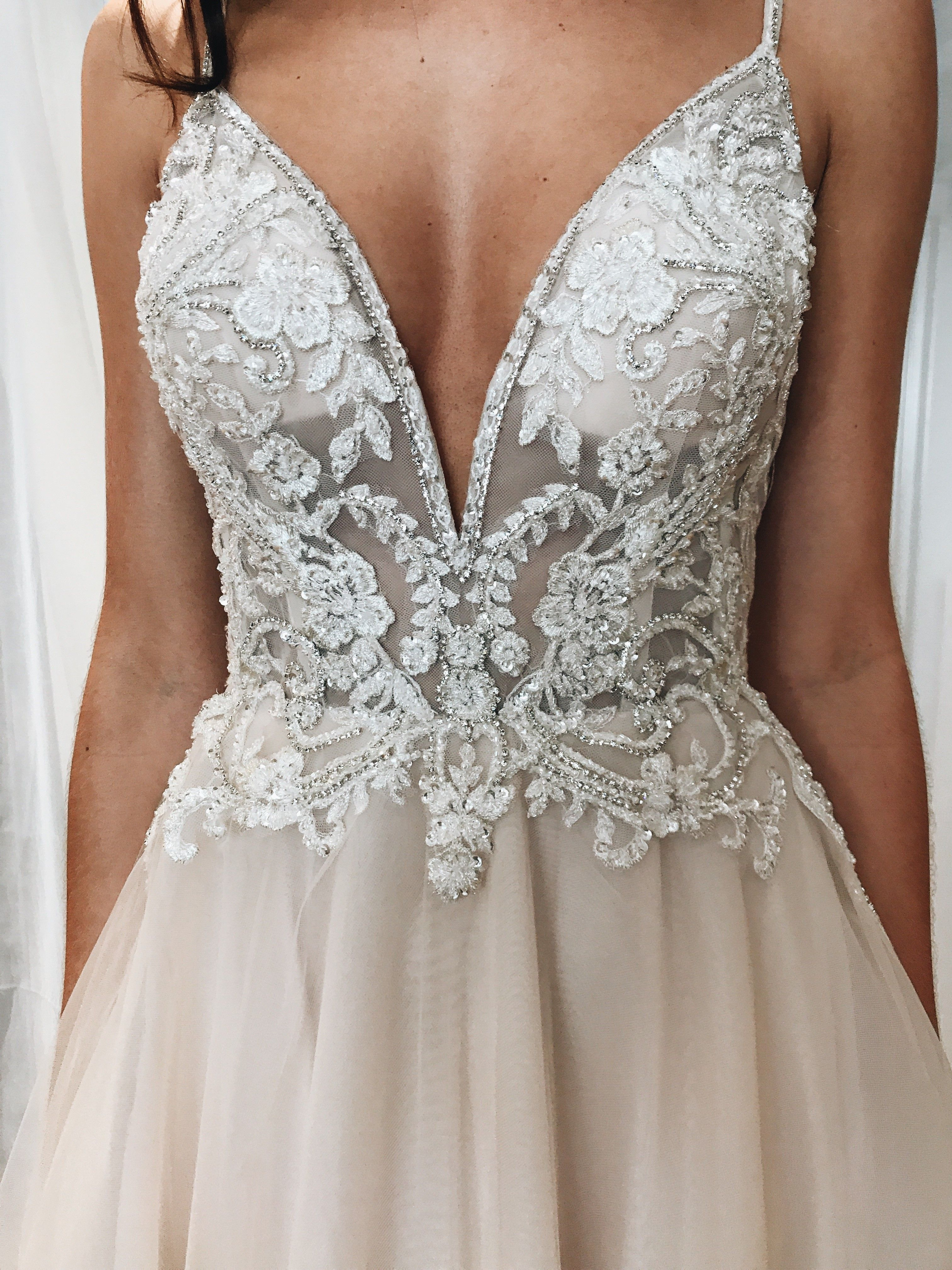 David wedding dress  Spaghetti strap plunging vneck lace and illusion wedding dress from