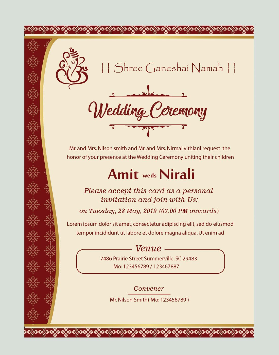 Free Kankotri Card Template Christian Wedding Invitations Christian Wedding Invitation Wording Wedding Invitation Templates