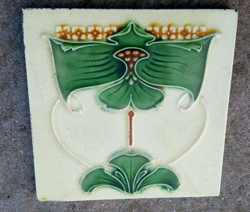 Superb original genuine art nouveau ceramic tile needful things superb original genuine art nouveau ceramic tile dailygadgetfo Gallery