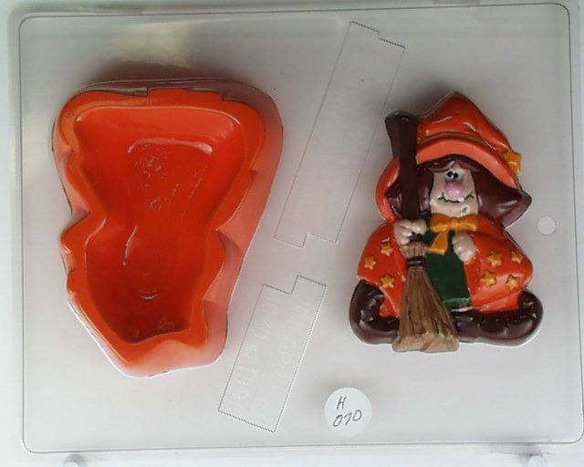 WITCH WITH BROOM LID & POUR BOX H070 CLEAR PLASTIC CHOCOLATE CANDY MOLD #ConceptsinCandy