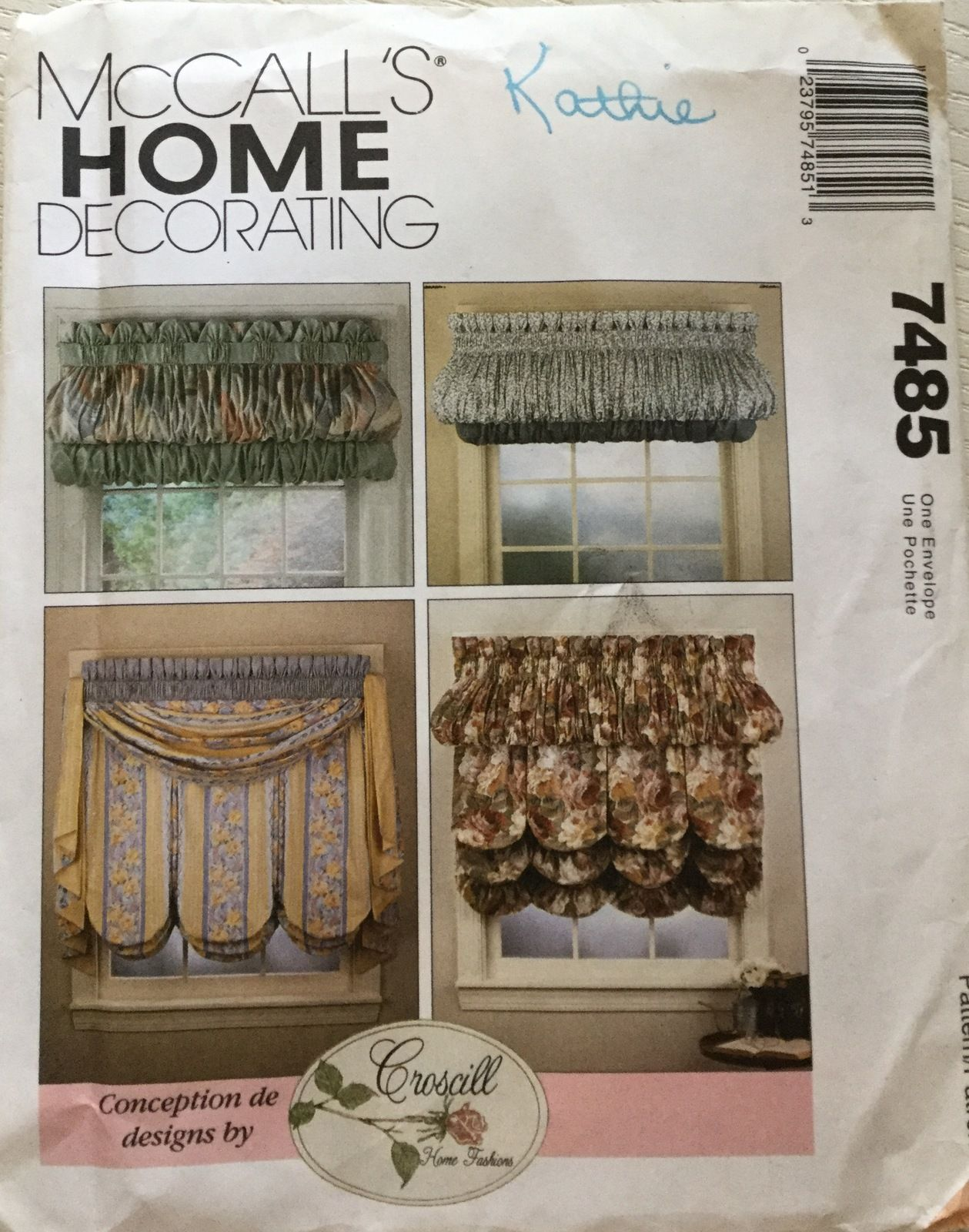 McCallu0027s 7485or 677 Croscill Window Treatments Home Decorating Sewing  Pattern
