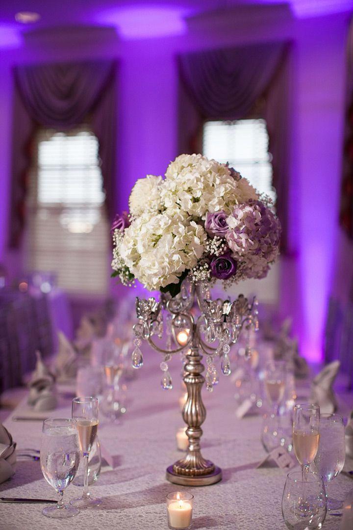 Elegant lavender and white wedding centerpiece