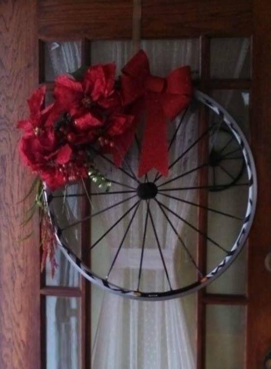 Bicycle Wheel Wreath Wreath Ideas Christmas Wreaths