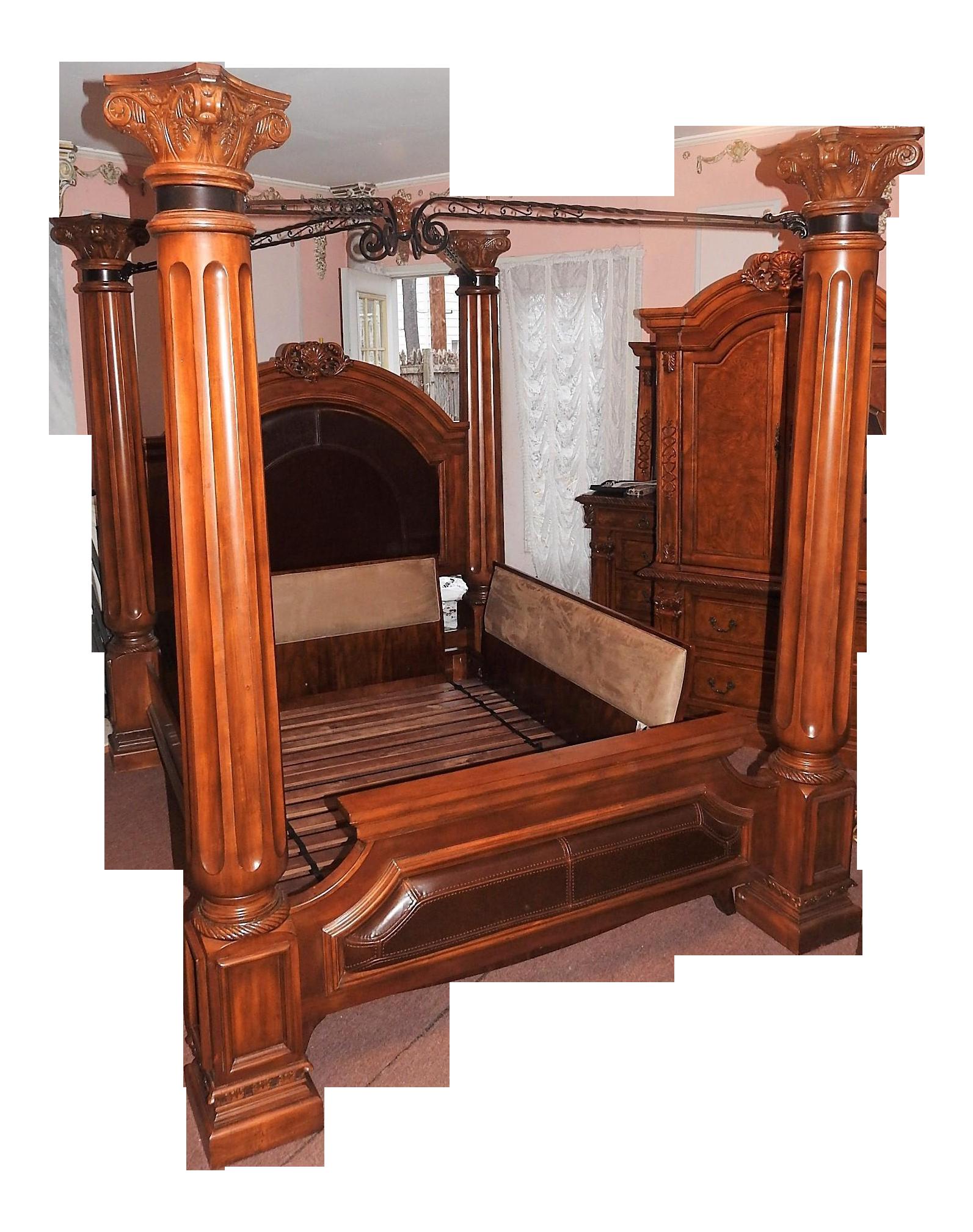 Luxury 4Pillar Cherry Master Bedframe Bed frame