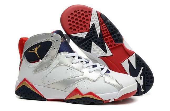 Authentic Air Jordans 7 WoWhite Red Black Shoe