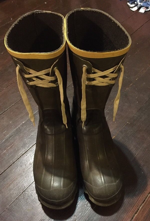 Mens Lacrosse Outdoorsman Green Rubber Boots Lace Up Size