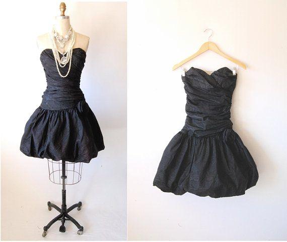 52fee518614 Vintage 80 s strapless bubble dress   retro prom puffy taffeta ...
