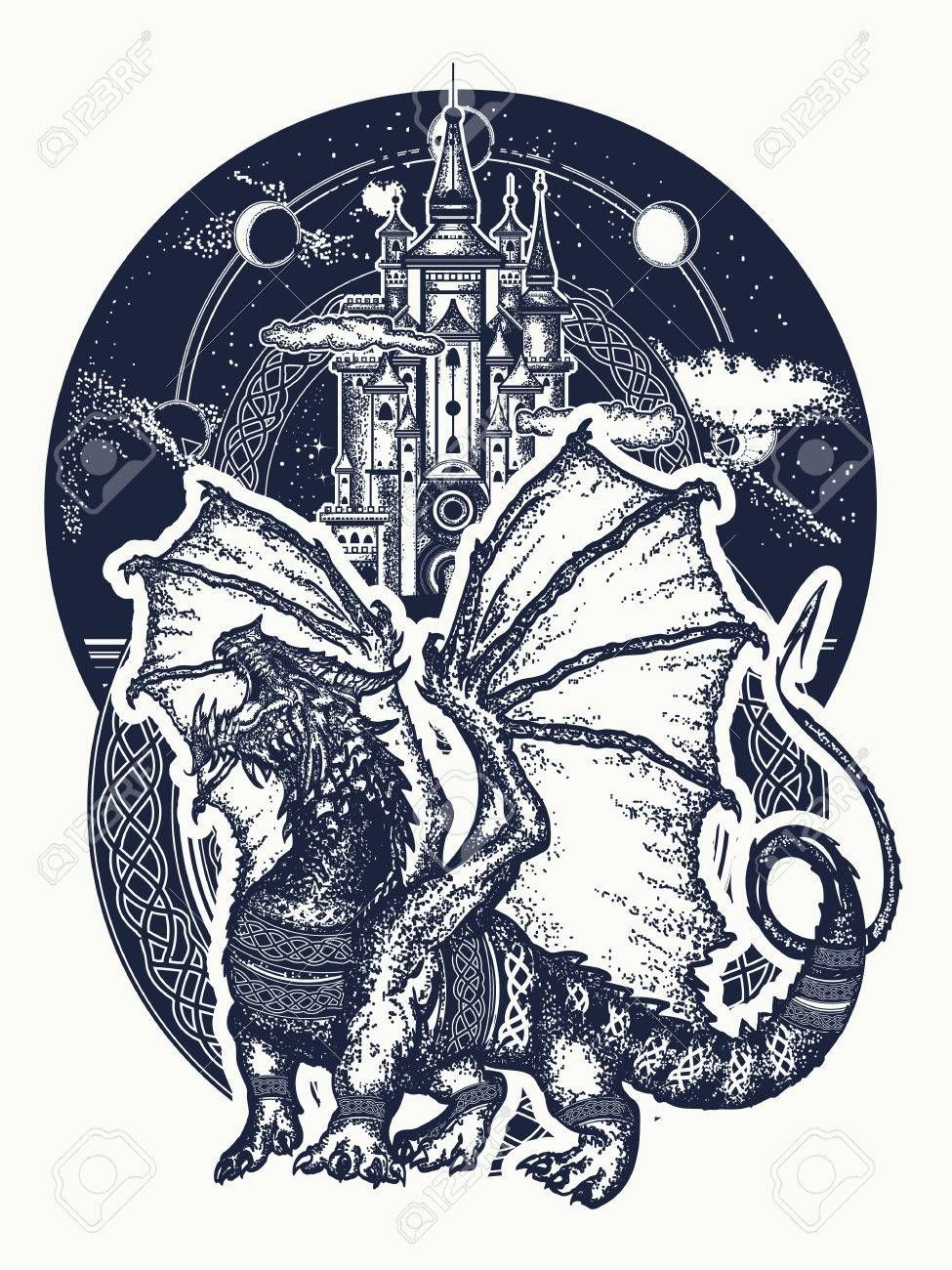 Dragon and castle tattoo art Symbol force fantasy fairy tale Strong dragon with celtic ornament and ancient castle tshirt design Illustration