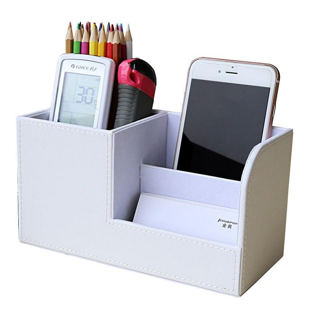 Wood Leather Multifunctional Desk/Vanity Organizer 6 Colors