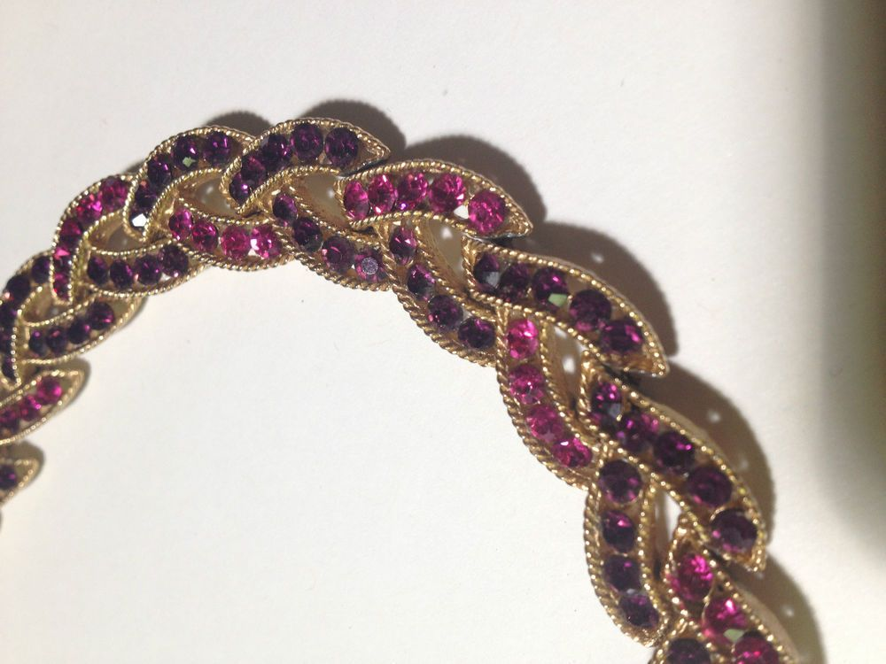 Vintage signed Trifari Braid PINK Purple Gem Gold Tone Choker Necklace MCM Glam  #Trifari #Choker