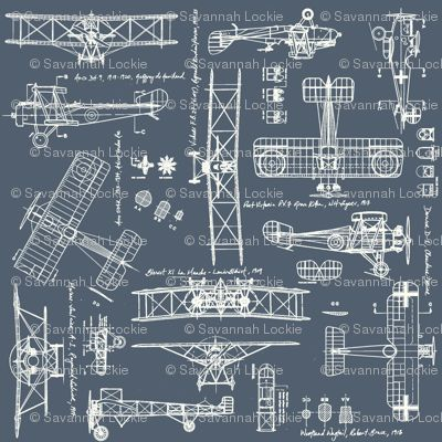 ww1 slate cream fabric -- plane plans -- would make a great quilt - new blueprint background image