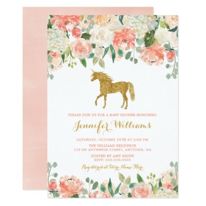Watercolor Flowers Unicorn Baby Shower Invitations Glitter