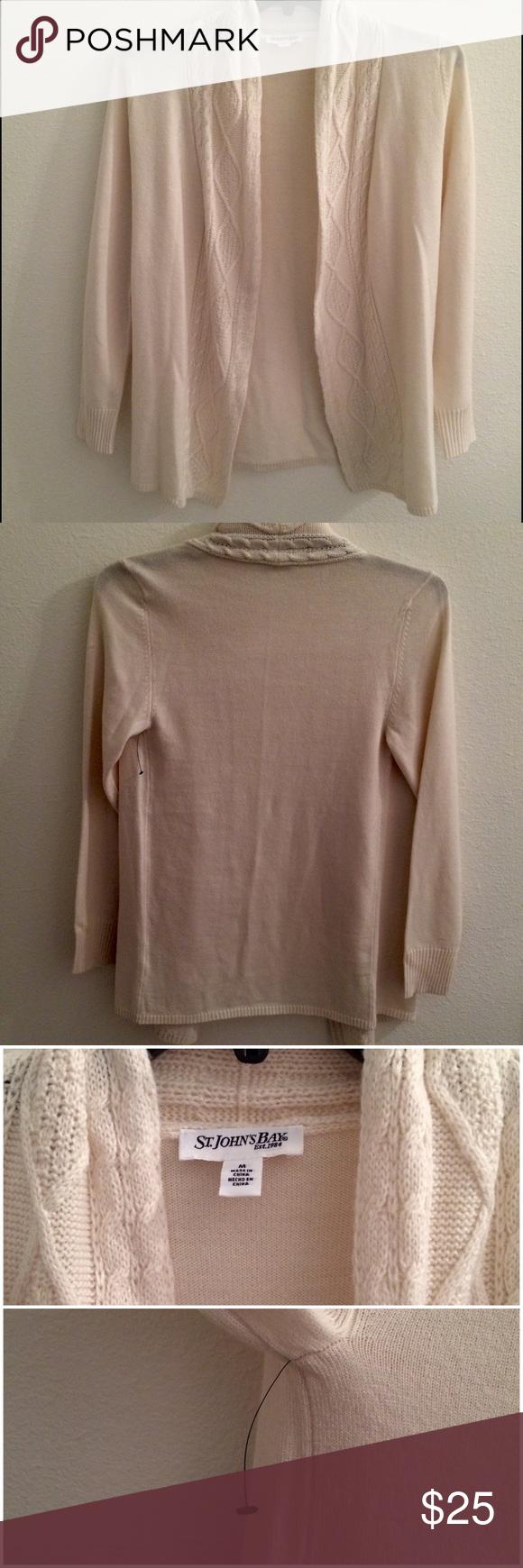 St. John's Bay cream cardigan sweater St. John's Bay cream colored ...