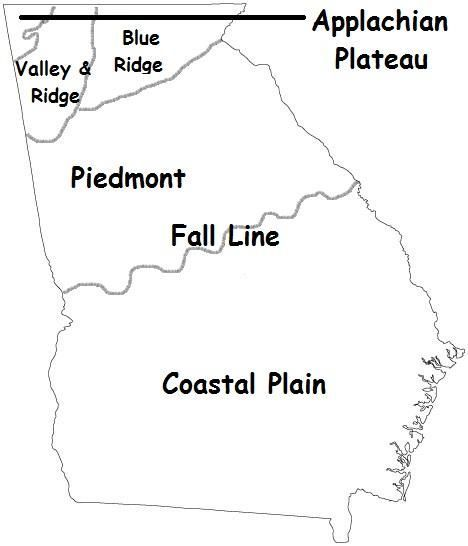 The five regions of Georgia are the Coastal Plain